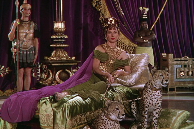 """Poppaea (Patricia Laffan), the emblem of the dangers and appeals of the Technicolor sex drive in MGM's """"Quo Vadis"""" (1951)."""