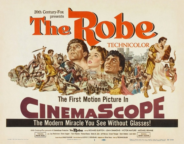 """Theatrical release poster for Fox's """"The Robe"""" (1953)."""
