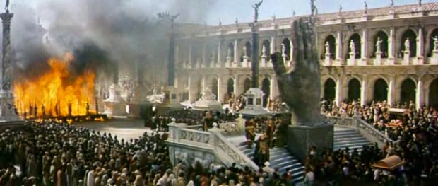"""The ending conflagration of """"Fall of the Roman Empire,"""" with echoes of an atomic expulsion from Eden."""